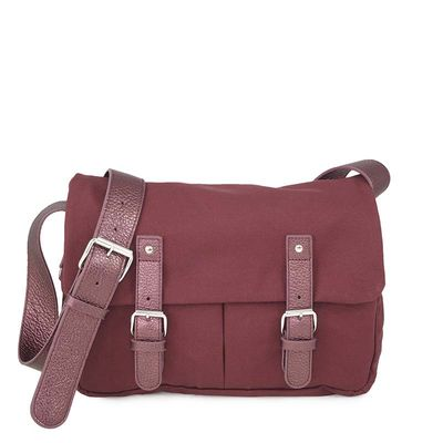 Burgundy cotton canvas messenger with leather trim