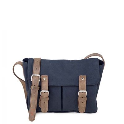 navy blue cotton canvas messenger bag with brown leather trim