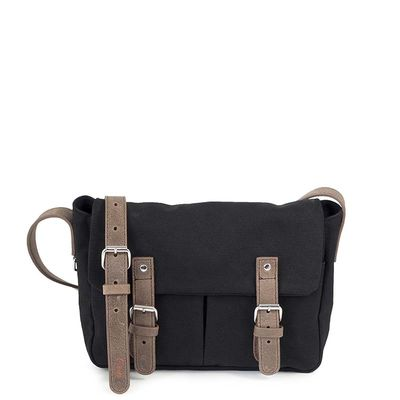 black cotton canvas messenger bag with brown leather trim