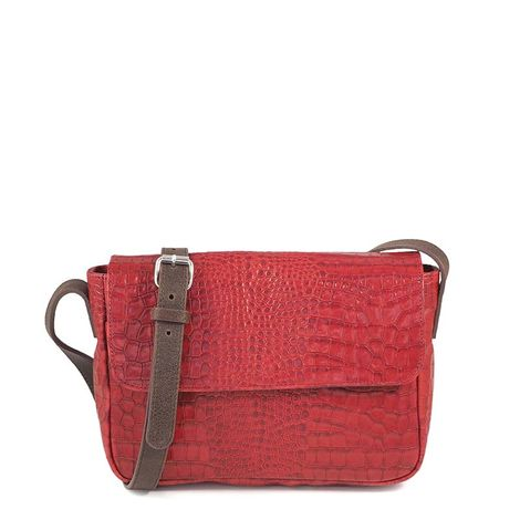 RED CROCO LEATHER  CROSSBODY BAG TOSCANE 04