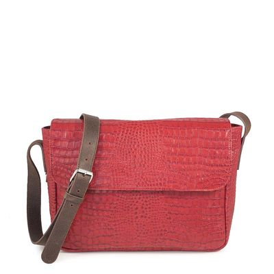 RED CROCO LEATHER URBAN BAG TOSCANE 07