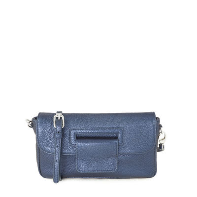 Grained leather blue clutch bag