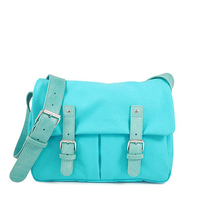 Turquoise cotton canvas messenger with leather trim