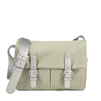 Tilleul cotton canvas messenger with leather trim