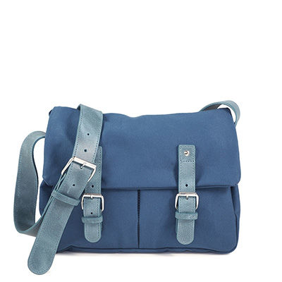 Royal Blue cotton canvas messenger with leather trim