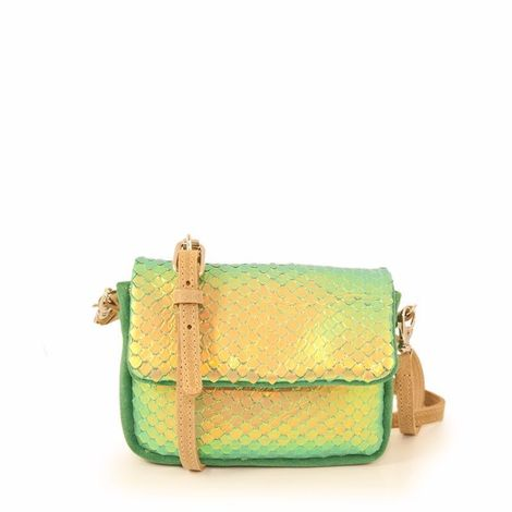 Glitter leather mini bag, with special hologram effect