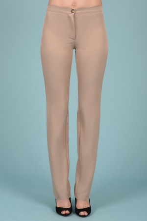 Pantalon Cigarette en Microfibre coloris Sable