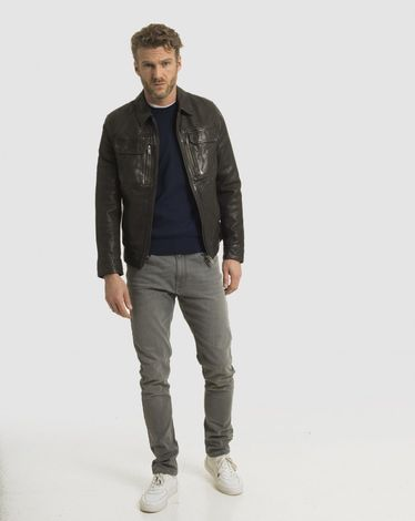 BLOUSON CUIR GRIS ANTHRACITE B-MUST