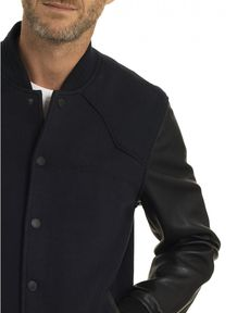 BLOUSON CUIR NAVY NEW MATT