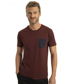 TEE-SHIRT ROUGE BURGUNDY CHINE LEAF