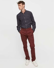 PANTALON ROUGE BURGUNDY CHINO SLIM