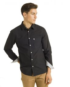 CHEMISE STRAIGHT NOIR CL OXFORD TOGS