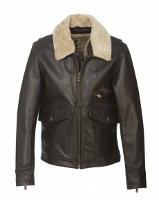 BLOUSON CUIR  MARRON FLYING JET CUIR FENDER X HELSTONS