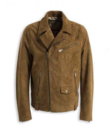 BLOUSON CUIR MARRON IRVING VELOURS