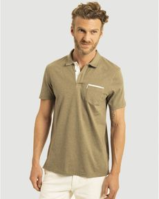 POLO VERT OLIVE CHINE GUYS