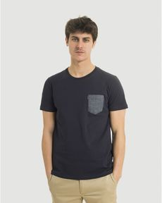 TEE-SHIRT NAVY LEAF CHAMBRAY
