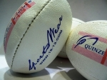 MINI BALLOON RUGBY 15&13 PVC BLACK AND WHITE LOGOS ON WHITE GRIPPY SURFACE