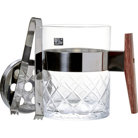 Glass Ice Pail Wooden Handle 1.1 Liter