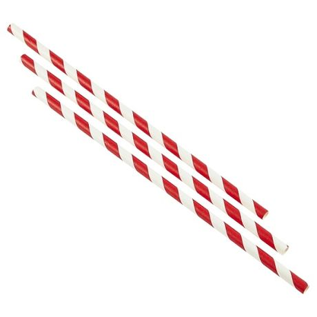 Paper Straws Red & White Stripes x 500