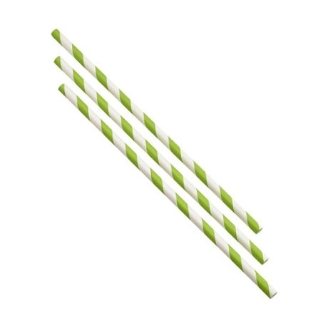 Paper Straws Green & White Stripes x 500
