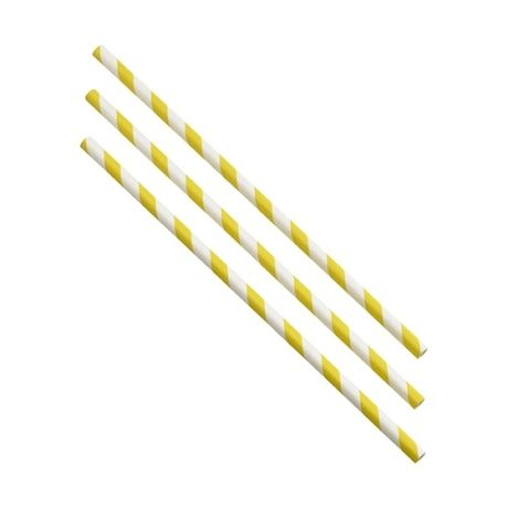 Paper Straws Yellow & White Stripes x 500