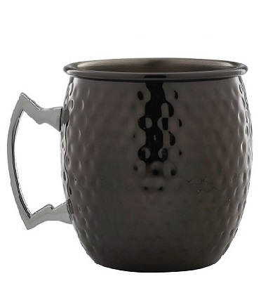 Barrel Mug Hammered Gun Metal Black 55cl