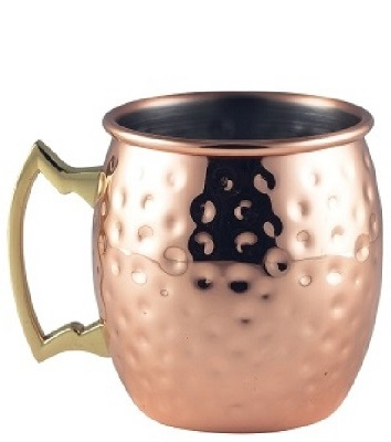 Barrel Copper Mug 40cl Hammered