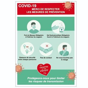 sticker prévention covid 19 - coronavirus - Cov03