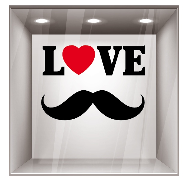stickers f te des p res love moustache pour d coration de vitrine magasin boutique. Black Bedroom Furniture Sets. Home Design Ideas