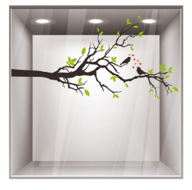 stickers decoratif pour vitrine branche d 39 arbre et oiseaux. Black Bedroom Furniture Sets. Home Design Ideas
