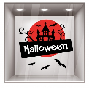 stickers gamme halloween pour d coration de vitrine de magasin. Black Bedroom Furniture Sets. Home Design Ideas