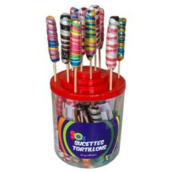 60 sucettes TORTILLONS mini 25g - assortiment FORAIN