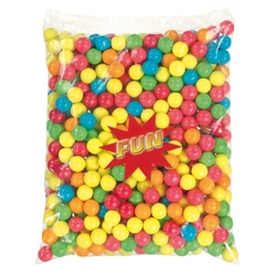 Billes de chewing-gum multicolores diamètre 20 mm en sac de 2.5 kg