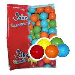 Jake Billes de chewing-gum MEGA multicolores diamètre 28 mm en sac de 2 kg