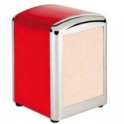 Distributeur de mini-serviettes rouge inox