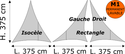 Triangle isocèle ou rectangle Lycra M1 PERMANENT Blanc Dimensions 375 x 375 cm