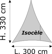 Triangle Isocèle Lycra M1 Dimensions 300 x 330 cm Blanc