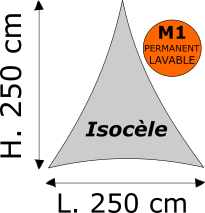 Triangle isocèle Lycra M1 permanent Dimensions 250 x 250 cm Blanc