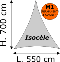 Triangle isocèle Lycra M1 permanent Dimensions 550 x 700 cm Blanc