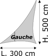 Triangle rectangle gauche Lycra M1 Dimensions 300 x 500 cm Blanc