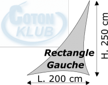 Triangle rectangle gauche Lycra M1 Dimensions 200 x 250 cm Blanc