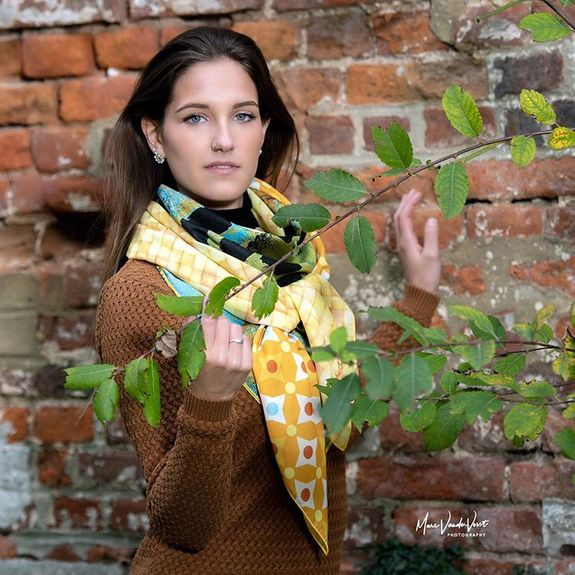 """women's scarves """"Live Life"""" - yellow"""