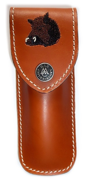 Folding knife Max Capdebarthes leather sheath embroidery Wild Bear