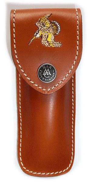 Folding knife Max Capdebarthes leather sheath embroidery Woodcock