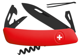 Swiss knife Swiza D03 All Black Red