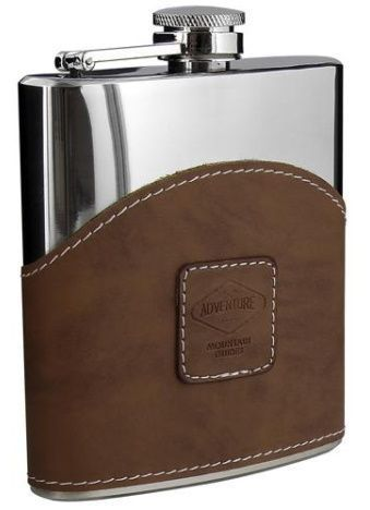 Stainless steel liquor flask wrapped in leather