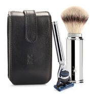 Leather case black Muhle with shaving kit RT3F
