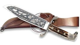 Bowie knife Linder Buffalo hunting scene edition