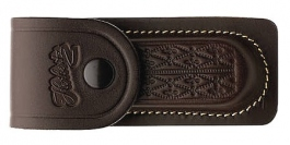 Leather sheath for folding knife