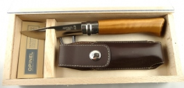 Wood Box with Opinel knive N°8 + Sheath